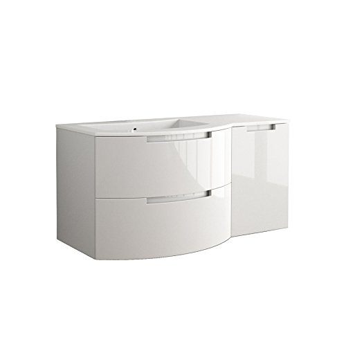 LaToscana OA53OPT2 Oasi 53 inch Modern Bathroom Vanity with 2 Slow Close Drawers Right Side Cabinet and Tekorlux Left Sink Top With Finish: Glossy Whi by La Toscana