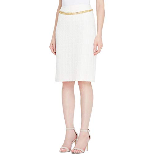 Tahari ASL Womens Petites Chain Belt Boucle Pencil Skirt Ivory 4P