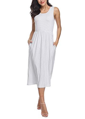 INWECH Women's Sleeveless Striped Dress Elastic Waist Tunic T-Shirt Dress Pocket (White 3, X-Large)