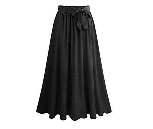 Vacances Taille Femme YuanDiann Basique de Plage lasticit Noir Longue Jupe Taille Ample Jupe Grande vase qvFSpOHq