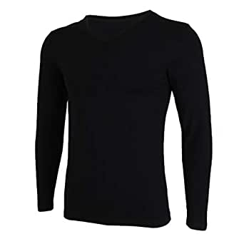 Lovoski Men's Cotton Super Soft Pajama Tops Winter Thermal Baselayer Underwear Skiing Warm Tops V-neck Long Sleeves - Black, L