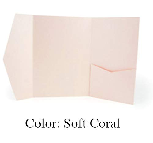 Trifold Pocket Fold Invitations (Soft Coral) Pack of 20 -