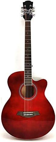 アコースティックギター 41インチの明るいフル・サイプレス初心者はアコースティックギターマット標準機器入門します 初心者 (Color : Red, Size : 41 inches)