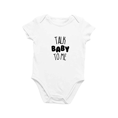 Onesie Organic Baby One Piece Short Sleeve Cute Trendy Minimal Bodysuit 0-12 Months - Talk Baby to Me (3-6 Months) -