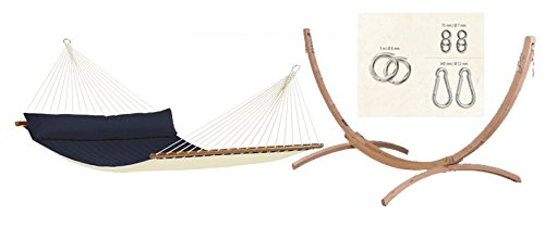Coolaroo Chillax Bundle Alabama Hammock Stand & Fixing Kit, Navy Blue