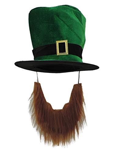 Adult Plush Leprechaun Green Top Hat w/ Buckle Accent & Beard]()