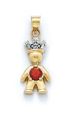 Or 14ct Diamant brut et pierre rouge grenat Pendentif Prince 2,5cm