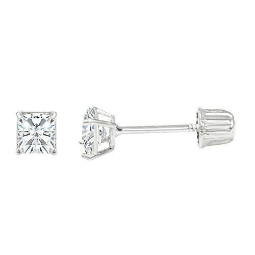 Ioka - 14K White Gold Square Solitaire Princess Cut Cubic Zirconia CZ Stud Screw Back Earrings - 0.25ct (3mm)