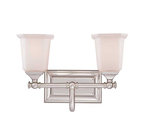 Quoizel NL8602BN Nicholas 2-Light Bath Light, Brushed (Appeal Wall)