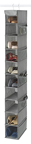 Hanging Shoe Holder (Zober 10-Shelf Hanging Shoe Organizer, Shoe Holder for Closet - 10 Mesh Pockets for Accessories - Breathable Polypropylene, Gray - 5 x 11.5 inch x 52 inch)
