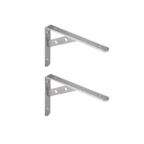Shelf Brackets Wall-Mounted, Can Withstand 150kg, with Mounting Screws. Thick 4mm Stainless Steel (2pcs)