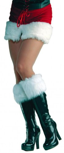 Forum Novelties Women's Sexy Santa Fur Boot Cuffs, White, One Size - Holiday Costumes