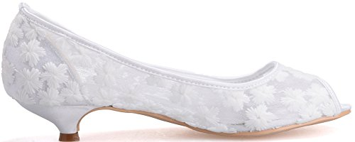 Lace 37 Wedding Eu 2046 5 Peep Work Bridesmaid White Ladies Prom Party Pumps Comfort Toe Flats Dress 12 Bride w4BqpP