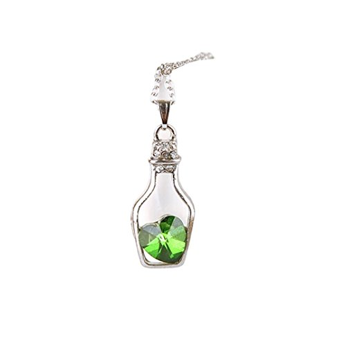 Mother's Day Gift, Muranba New Women Popular Crystal Necklace Love Drift Bottles (Green) Flowers Multi Strand Necklace