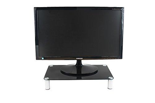 Glass Monitor Riser - Computer Monitor Riser in Black Temper