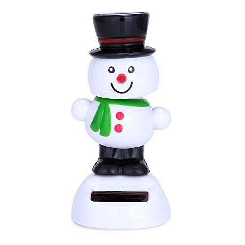 Zehaer Christmas Snowman Dolls,Solar Car Dashboard Nodding Dancing Dolls Toy Xmas Gift