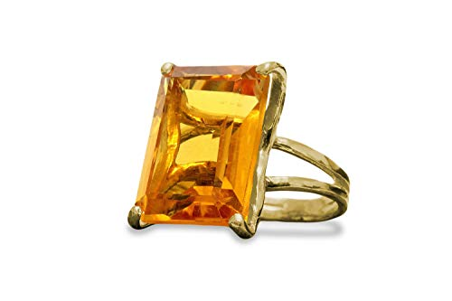 Anemone Jewelry 14K Statement Citrine Gold Ring - Beautiful AA Rectangle Citrine Ring For Special Occasions - Make A Statement Through This Wow Ring [Handmade]