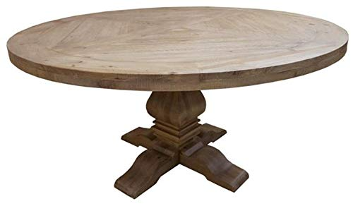 Florence Round Pedestal Dining Table Rustic Smoke