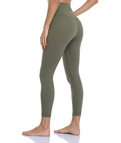HeyNuts Hawthorn Athletic Essential II High Waisted Yoga Leggings for Women, Buttery Soft Workout Pants Compression 7/8 Leggings with Inner Pockets Sage Grey_25'' S(4/6)