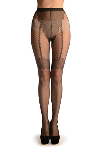 Dark Grey With Tile Lace Top & Faux Pearl Suspenders - Pantyhose (Tights)