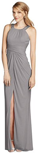 Ruched Mesh Gown (David's Bridal Long Beaded U Neck Mesh Bridesmaid Dress With Ruched Waist Style F17093.)