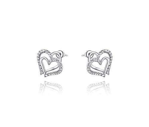 (Silver Shoppee Girls' 'Valentine Special' Genuine Austrian Crystal Sterling Silver Plated Stud)