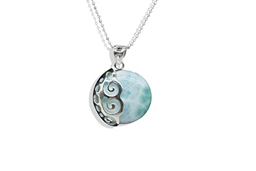 Sterling Silver Larimar Pendant Blue Natural Genuine Fashion Gemstones Handmade Larimar Jewelry Classic Necklace with 18