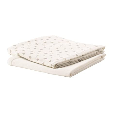 Ikea himmelsk algodón paños en blanco/gris; (70 x 70 cm);