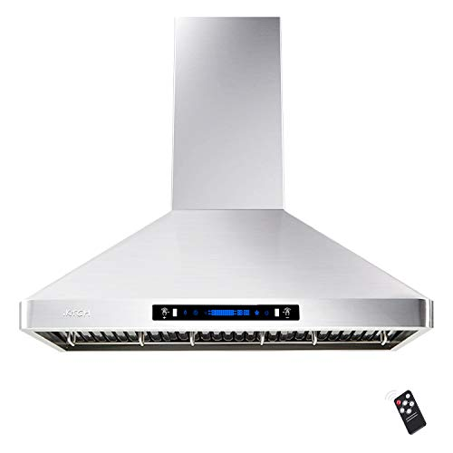 """IKTCH 36"""" Wall Mount Range Hood, 900 CFM Stainless Steel Kitchen Chimney Vent with Gesture Sensing & Touch Control…"""