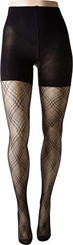 Spanx Women's Plaid Lace Mid-Thigh Shaping Tights Very Black C