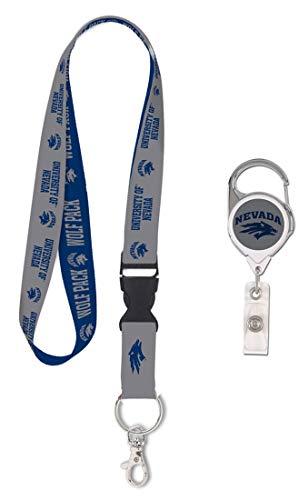 Bundle 2 Items: University of Nevada Wolf Pack 1 Lanyard and 1 Premium Badge Reel