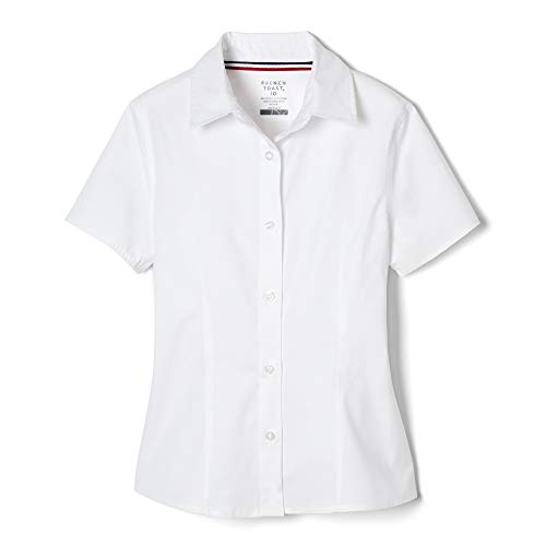French Toast Girls' Short Sleeve Stretch Blouse, White, 16