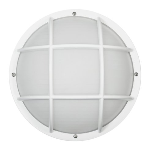 Sunlite 47214-SU DOD/EG/WH/FR/MED Decorative Outdoor Eurostyle Grid Polycarbonate Fixture, White Finish, Frosted Lens by Sunlite