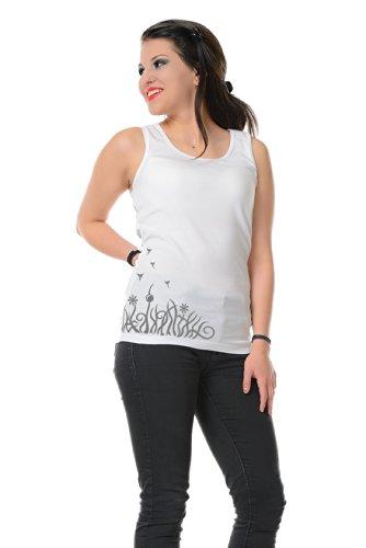 con 3elfen algod Prairie corta mangas Camiseta Berlin sin estampado Camiseta de elfos flores de Top Verano q1tqr