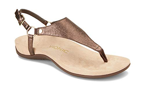 Vionic Women's Rest Kirra Backstrap Sandal - Ladies Sandals with Concealed Orthotic Arch Support Bronze Metallic 7.5 M US