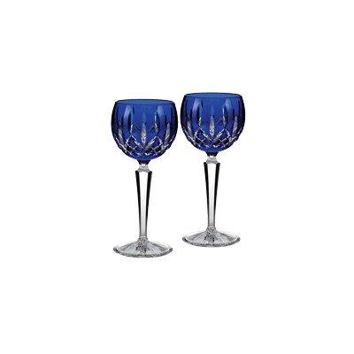 Waterford Lismore Cobalt Hock, Set of 2 Crystal Hock Wine