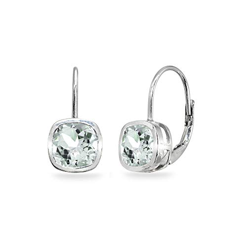Sterling Silver Light Aquamarine 6x6mm Cushion-Cut Bezel-Set Dainty Leverback Earrings for Women Teen ()