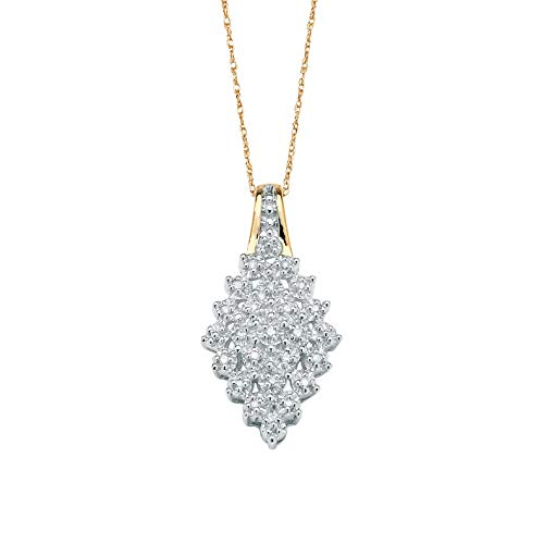 "White Diamond 10k Yellow Gold Marquise Cluster Necklace 18"" (.10 cttw, HI Color, I3 Clarity)"