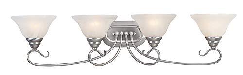 Livex Lighting 6104-91 Coronado 4 Light Brushed Nickel Vanity with White Alabaster Glass -