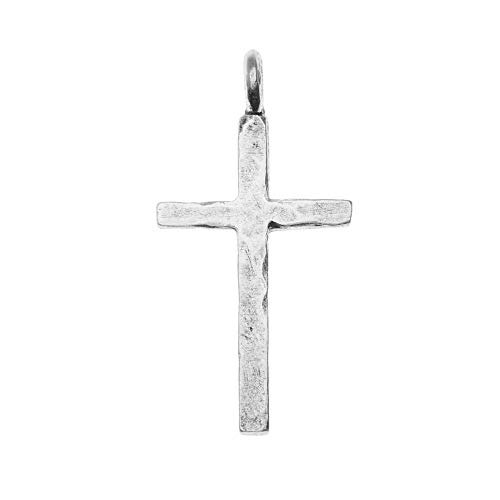 (Nunn Design Pendant, Large Hammered Traditional Cross 34mm, 1 Piece, Antiqued Silver)