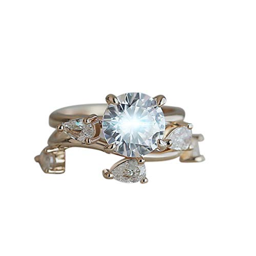(Beppter 2PC Creative Rose Gold Round Drop Diamond Zircon Ladies Ring Set Size6 7 8 9 10(Rose Gold,9))