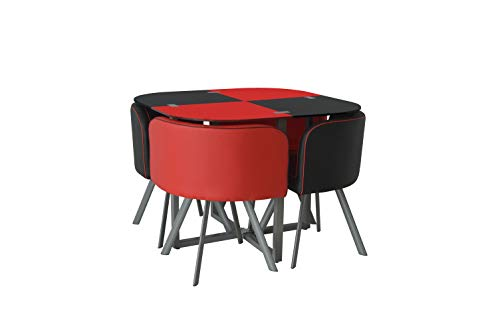 KOSY KOALA GLASS DINING TABLE AND 4 FAUX LEATHER CHAIRS,SPACE SAVER, BLACK AND WHITE (BLACK/RED)