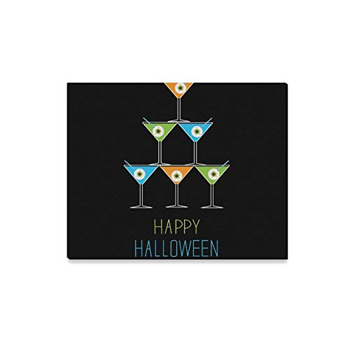 XINGCHENSS Wall Art Painting Martini Glasses Pyramid Happy Halloween Card Prints On Canvas The Picture Landscape Pictures Oil for Home Modern Decoration Print Decor for Living Room for $<!--$24.00-->