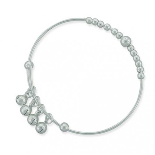 Tiny Round Ball Beaded Dangle Charm Bangle Dainty Bracelet For Women 925 Sterling Silver For Small Wrists 6.75 Inches