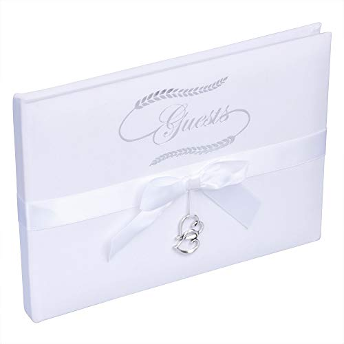 Wedding Guest Book for Wedding Reception(128 Pages) 8.25 x 6.25 Inches | Guest Books for Weddings in Elegant Ivory and Ebony | Lined Blank Wedding Guest Book with Calligraphy