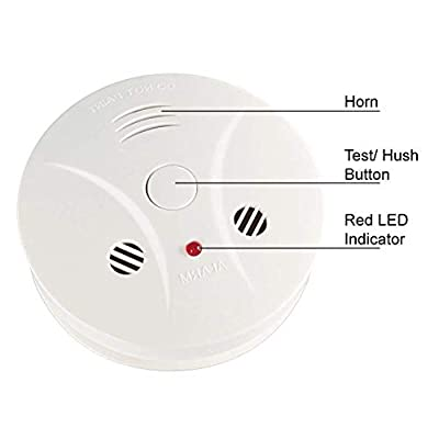 2 Pack Combination Photoelectric Smoke and Carbon Monoxide Alarm Detector for Home Bedroom Travel Portable Battery Operated