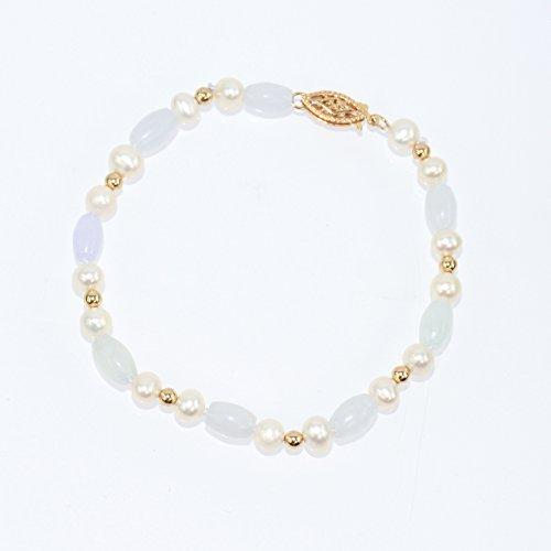 (14K Yellow Gold Cultured Pearl Natural Jade Bracelet)