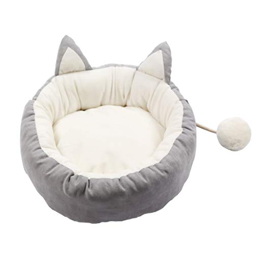 PLDDY Pet nest,Dog Bed,Cat Bed,Nordic Style with Hair Ball Toy Washable Four Seasons Universal Small and Medium Dog Cat (Color : Gray, Size : L)