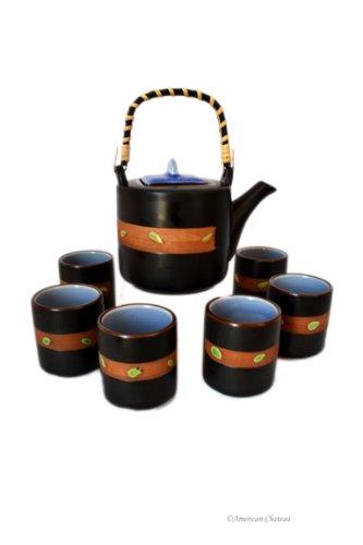 19 oz Large 7 pc Japanese Black Ceramic & Bamboo Teapot Set with 6 Mugs/Cups