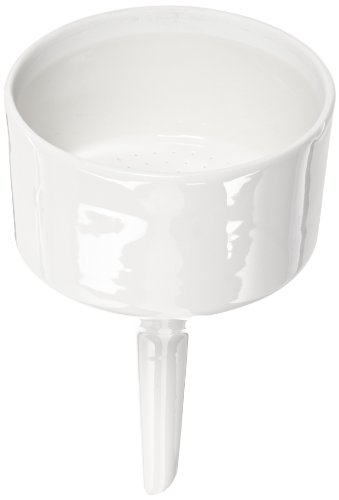 (CoorsTek 60243 Porcelain Ceramic Buchner Funnel with Fixed Perforated Plate, 320mL Capacity, 160mm Height, 90mm Filter Paper Diameter)